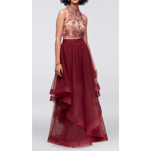 David\'s Bridal Dresses | Burgundy Twopiece Prom Dress Size 1 | Poshmark